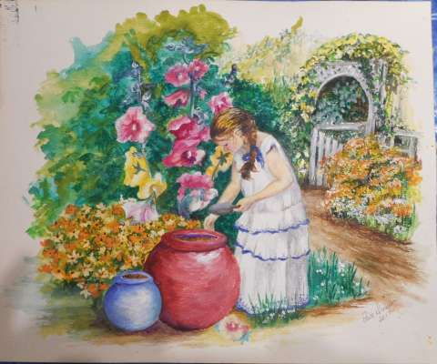 By the |Garden Gate, Watercolour, 19 X 23, $$175.0000