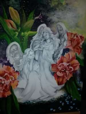 Sisters of the Garden, Acrylic, 20 X 24, $$375.0000