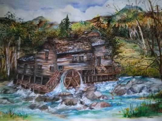 The Old Mill, Watercolour, 24 X 36, $$0.0000